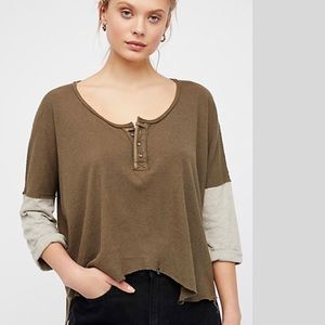 FREE PEOPLE - We the Free Star Henley Top NWOT